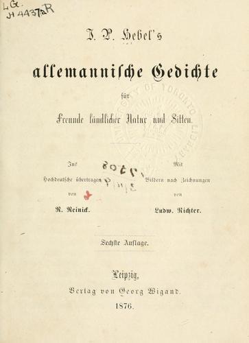 Allemannische Gedichte für Freunde ländlicher Natur und Sitten