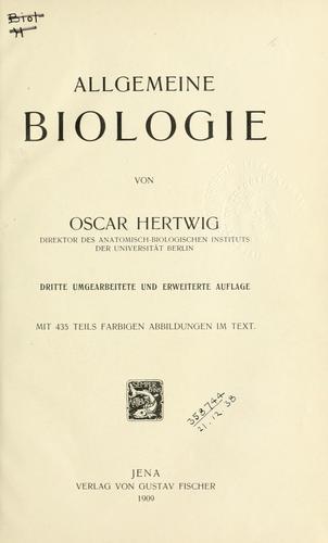Allgemeine Biologie.