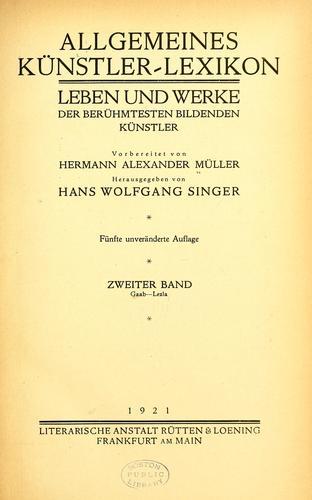 Allgemeines Künstler-Lexicon.