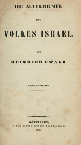 Die Alterthümer des Volkes Israel