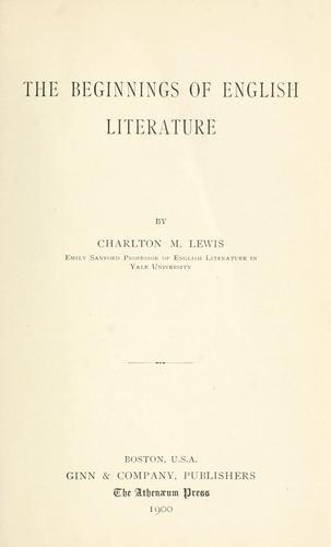 The beginnings of English literature