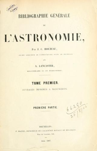Download Bibliographie générale de l'astronomie