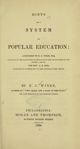 Hints on a system of popular education