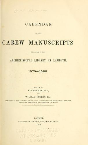 Download Calendar of the Carew manuscripts