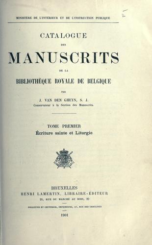Download Catalogue des manuscrits de la Bibliothèque royale de Belgique.