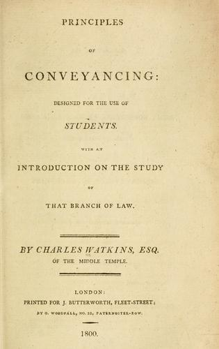 Principles of conveyancing