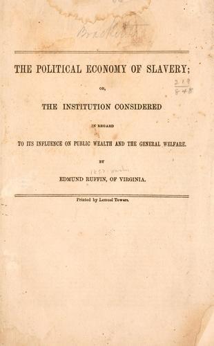 The political ! economy of slavery