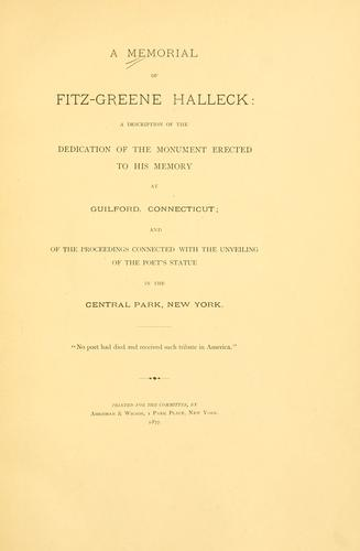 Download A memorial of Fitz-Greene Halleck