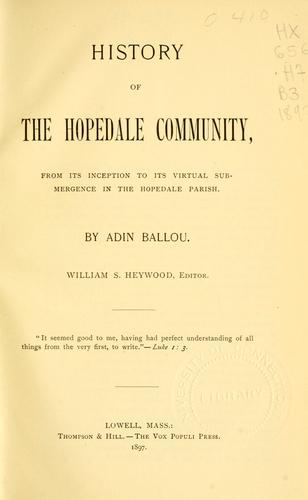 Download History of the Hopedale community