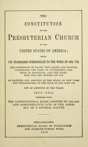 Download The constitution of the Presbyterian Church in the United States of America