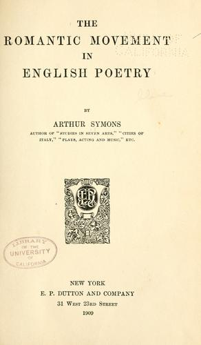 The romantic movement in English poetry (Open Library)