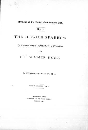 Download The Ipswich sparrow (Ammondramus princeps Maynard) and its summer home