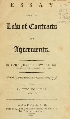 Download Essay upon the law of contracts and agreements.