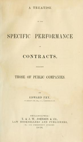Download A treatise on the specific performance of contracts