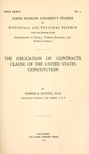 Download The obligation of contracts clause of the United States Constitution