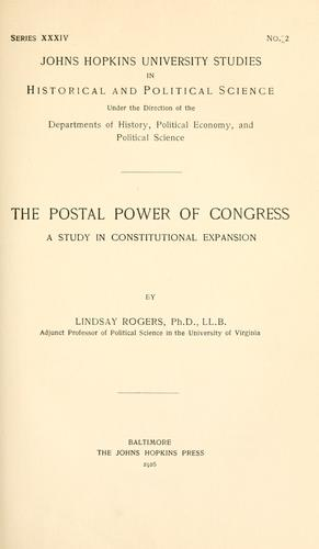 Download The postal power of Congress