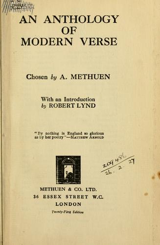An anthology of modern verse