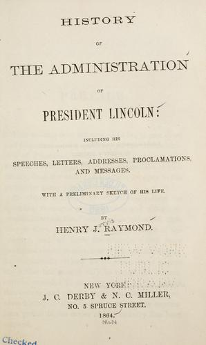Download History of the administration of President Lincoln