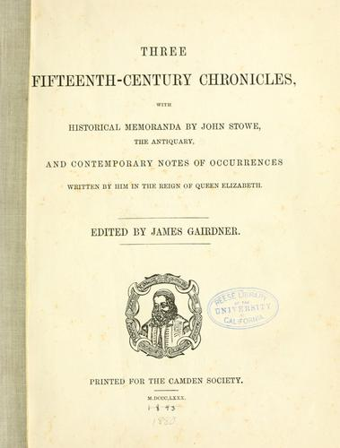 Download Three fifteenth-century chronicles