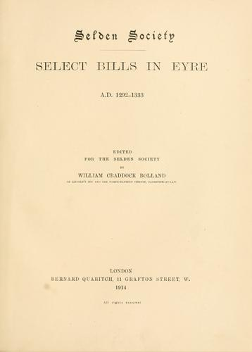 Download Select bills in eyre, A.D. 1292-1333