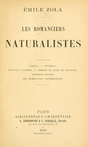 Download Les romanciers naturalistes.
