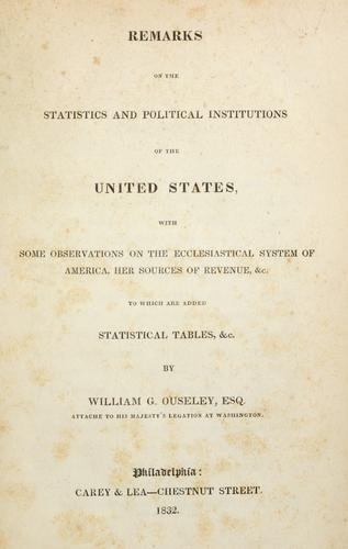 Download Remarks on the statistics and political institutions of the United States