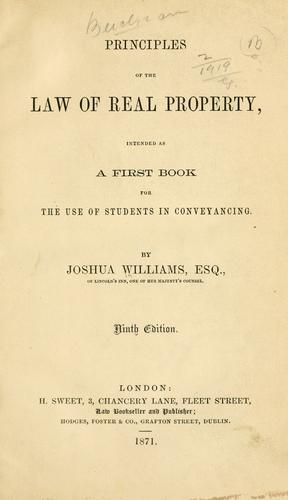 Download Principles of the law of real property …