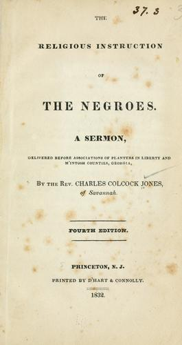 The religious instruction of the Negroes.