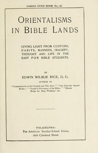 Download Orientalisms in Bible lands.