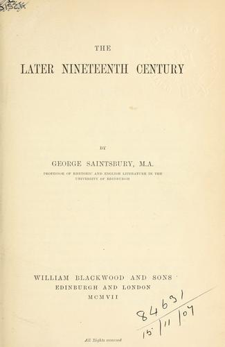 The later nineteenth century.