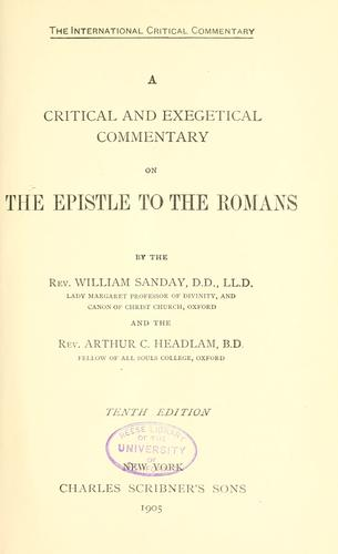 Download A critical and exegetical commentary on the Epistle to the Romans