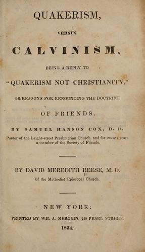 Download Quakerism versus Calvinism