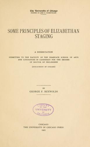 Some principles of Elizabethan staging …