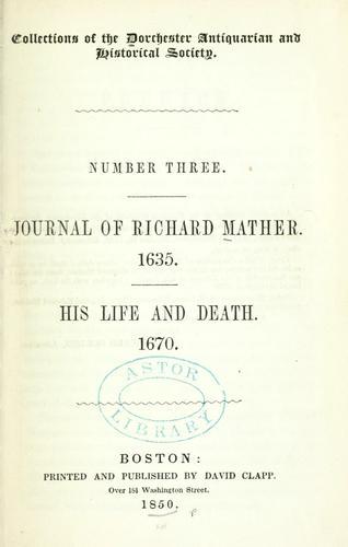 Journal of Richard Mather. 1635.