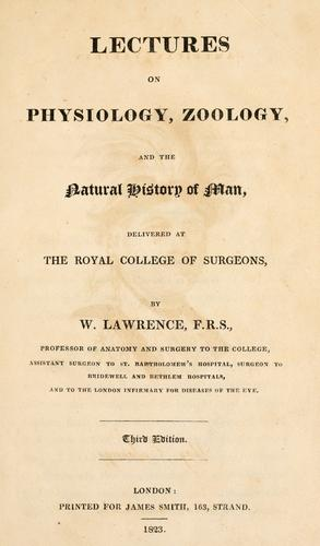 Download Lectures on physiology, zoology, and the natural history of man