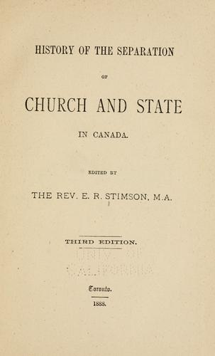 History of the separation of church and state in Canada.