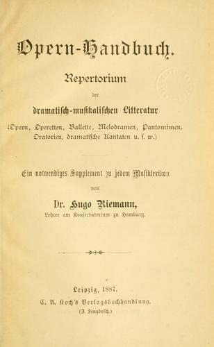 Opern-handbuch.