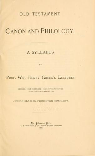 Download Old Testament canon and philology