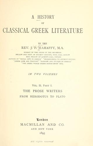 A history of classical Greek literature.