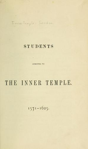 Students admitted to the Inner Temple, 1571-1625.