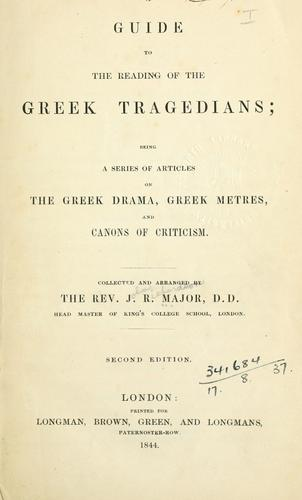 A guide to the reading of the Greek tragedians