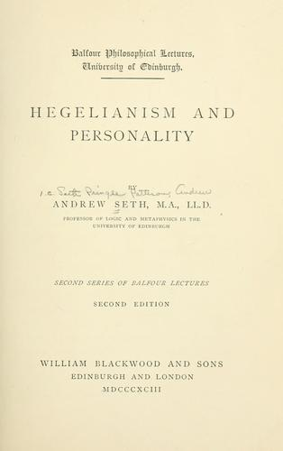 Download Hegelianism and personality