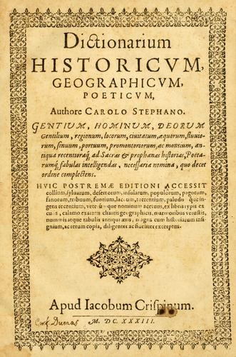 Download Dictionarium historicum, geographicum, poeticum …