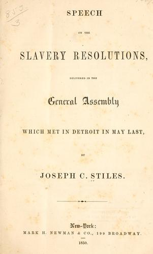 Speech on the slavery resolutions