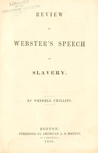 Download Review of Webster's speech on slavery.