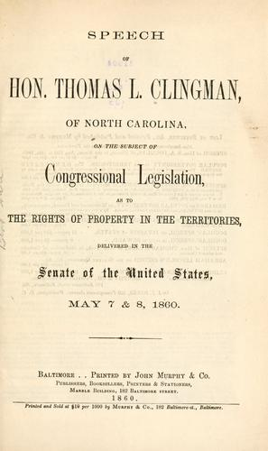 Download Speech of Hon. Thomas L. Clingman, of North Carolina