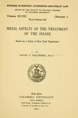 Download Social aspects of the treatment of the insane