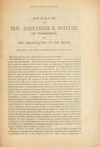 Speech of Hon. Alexander R. Boteler, of Virginia, on the organization of the House.