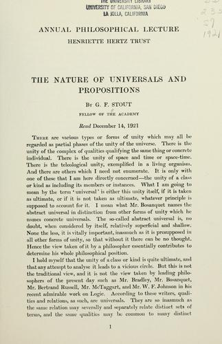 Download The nature of universals and propositions