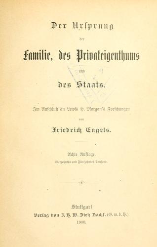 Download Der Ursprung der Familie, des Privateigenthums und des Staats